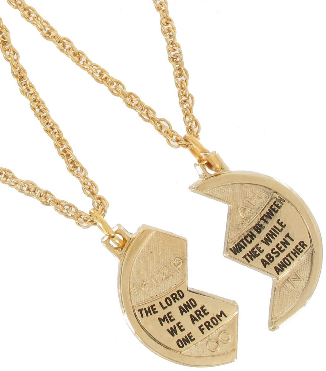Foster Necklace Bff Set Mizpah Coin Best Friends Genesis Pendant Gold Tone Small Thumbnail 2