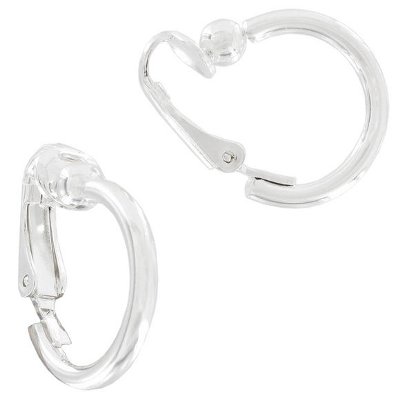Ky and Co Silver Tone Small Clip On Hoop Earrings USA Made 1/2""