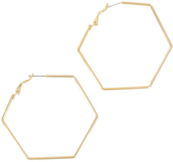 Ky & Co Gold Tone Hexagon Geometric Hoop Pierced Earrings USA Made 2 1/4""