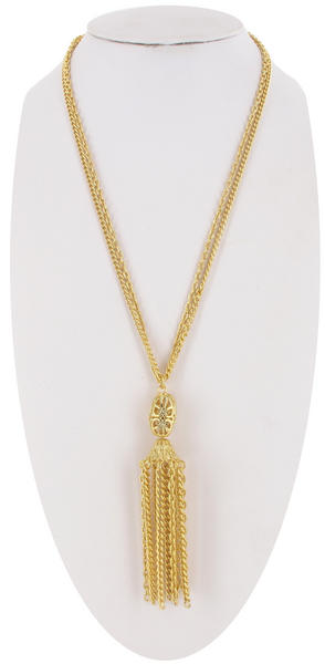 Ky & Co Gold Tone Filigree Big Tassel Tassle Chain Necklace