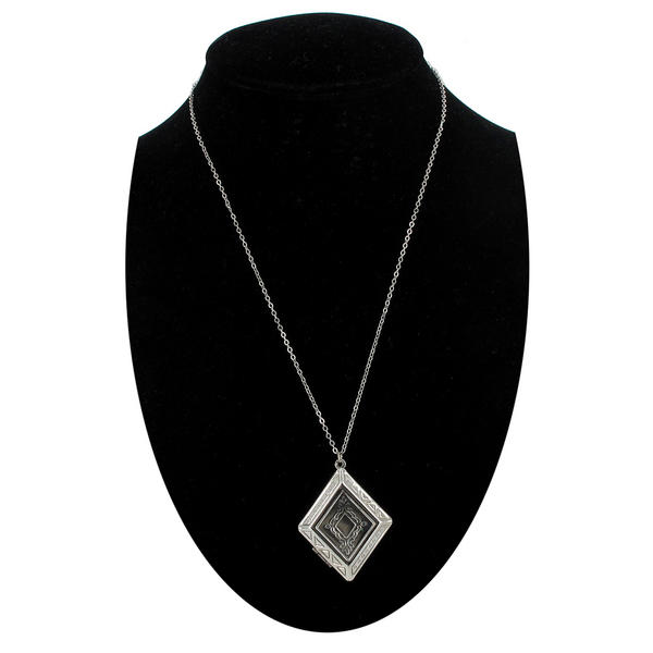 Ky & Co Diamond Shape Antiqued Silver Tone Photo Locket Pendant Necklace