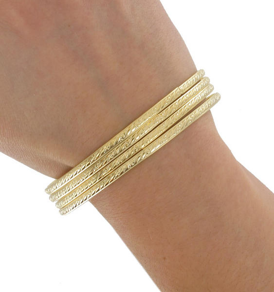 Ky & Co Bangle Bracelet Gold Tone Thin Xl Large Made In USA Set 4 Cambridge