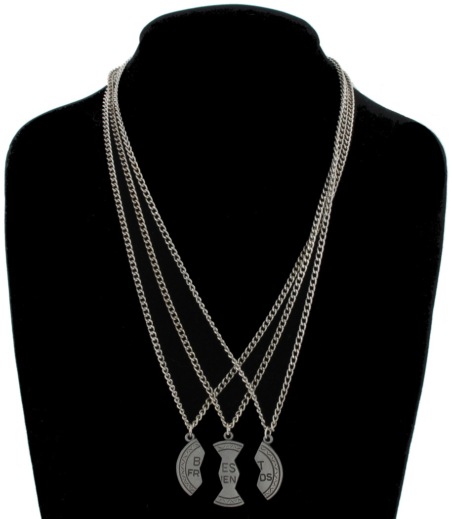 Pendant Bff Necklace Set 3 Part Best Friends Silver Tone Thumbnail 3