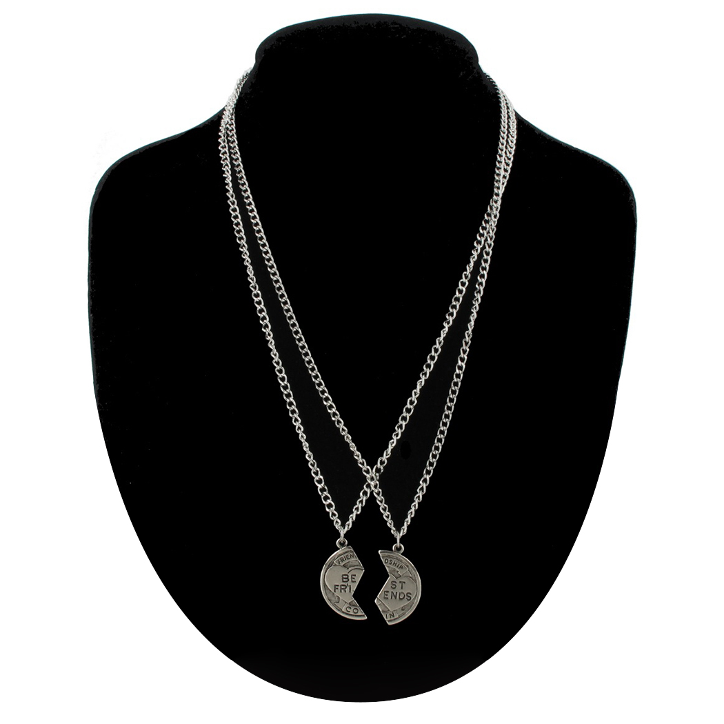 Ky & Co Pendant Bff Necklace Set Friendship Coin Best Friends Silver Tone