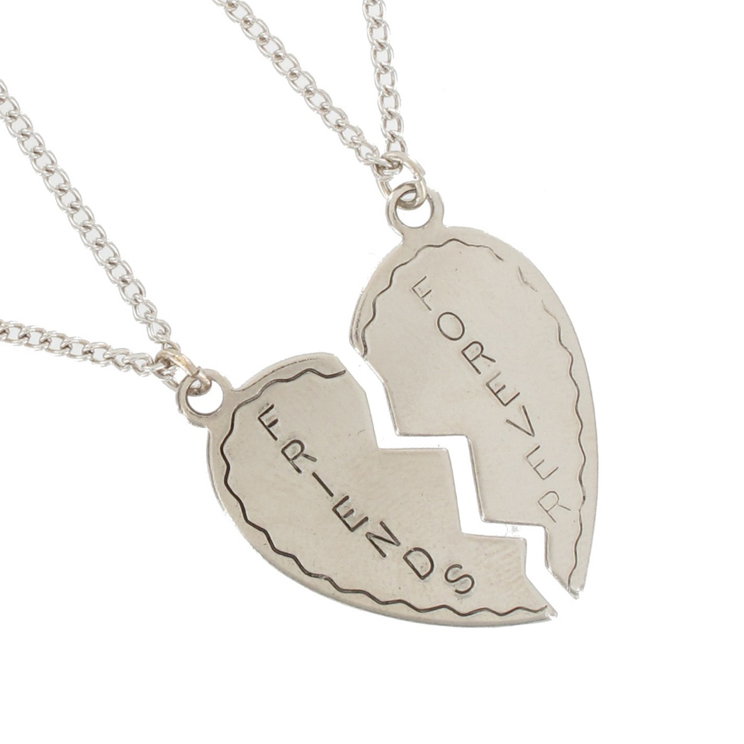 Ky & Co Necklace Bff Set Friends Forever 2 Piece Silver Tone Broken Heart Thumbnail 2