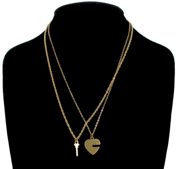 Ky & Co Pendant Key To My Heart Sweetheart Necklace Tiny Couples Set Gold Tone