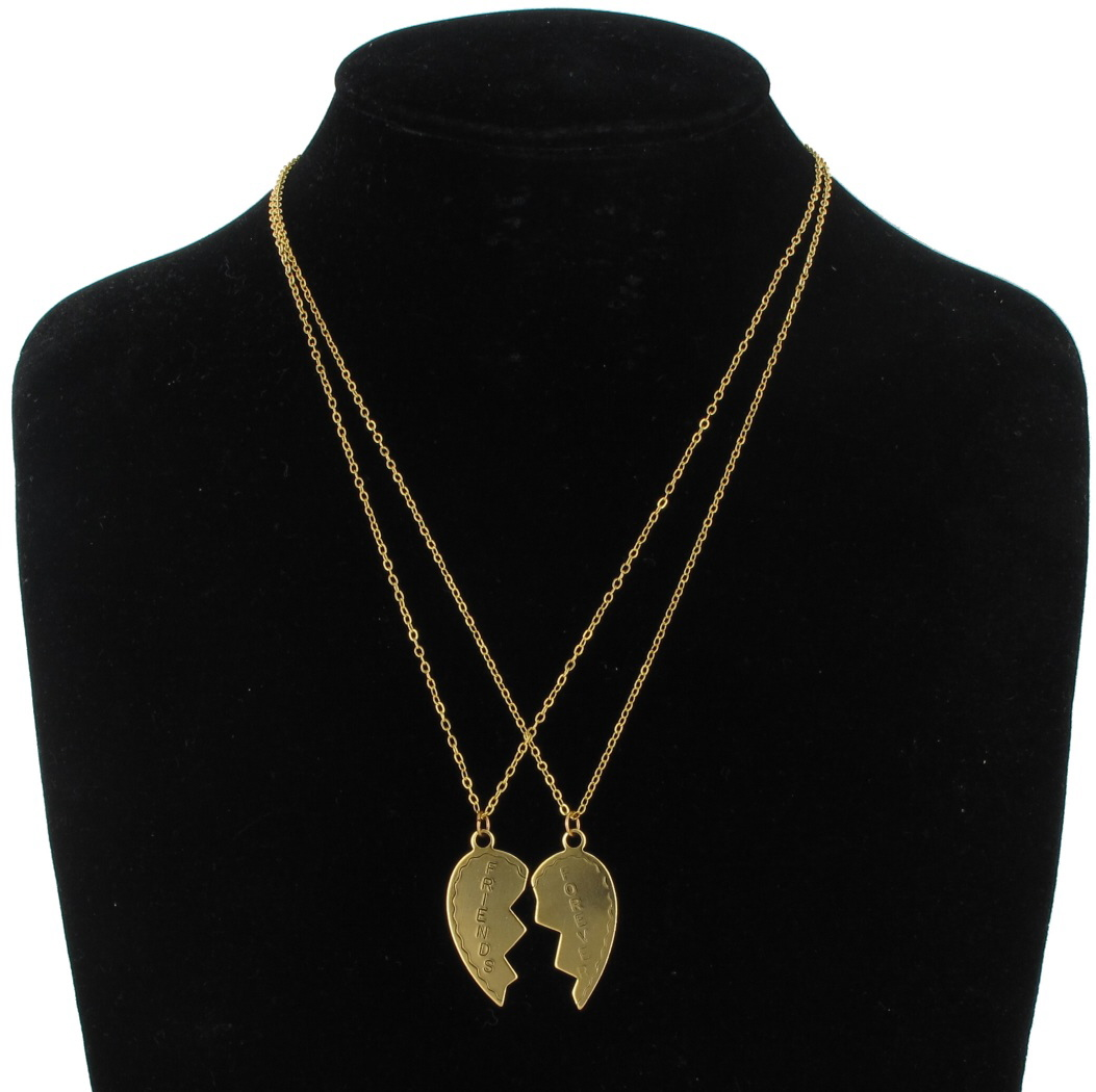 Ky & Co Necklace Bff Set Friends Forever 2 Piece Gold Tone Broken Heart Thumbnail 1