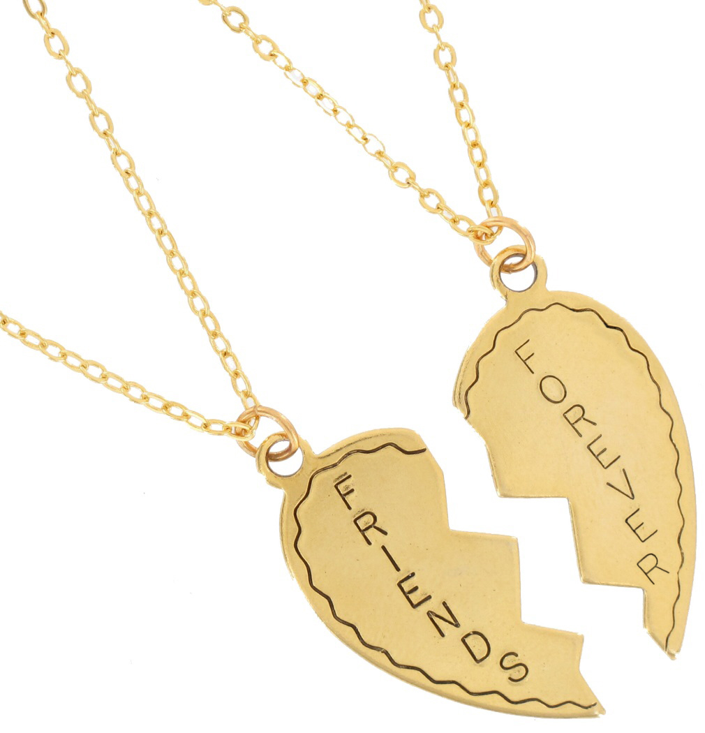 Ky & Co Necklace Bff Set Friends Forever 2 Piece Gold Tone Broken Heart Thumbnail 2