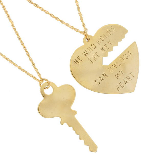 Ky & Co Pendant Key To My Heart Sweetheart Necklace Couples Big Set Gold Tone