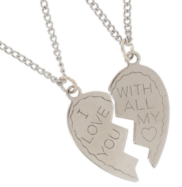 Ky & Co Pendant Necklace Set I Love You With All My Heart Sweetheart Silver Tone