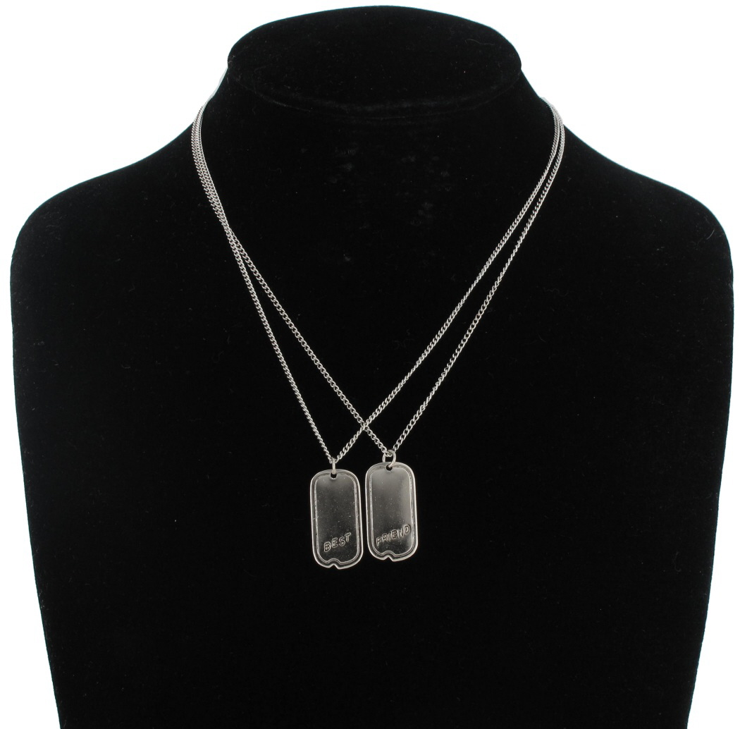 Ky & Co Pendant Bff Necklace Set Friendship Dog Tag Best Friends Silver Tone Thumbnail 1