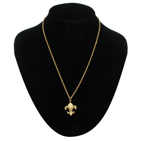 Ky & Co Pendant Necklace Fleur De Lis Gold Tone Charm French Rope Chain USA Made