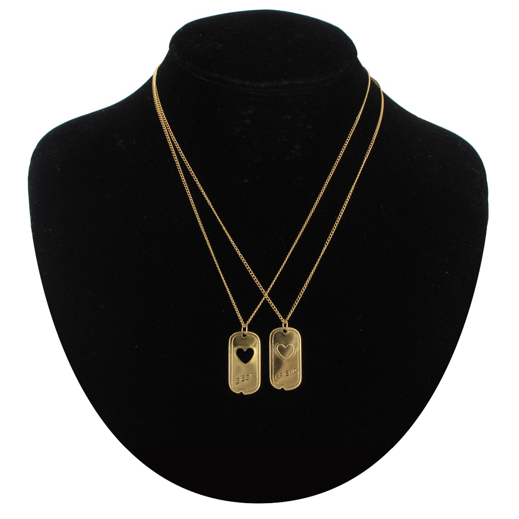 Ky & Co Pendant Bff Necklace Set Friendship Dog Tag Heart Best Friends Gold Tone Thumbnail 1