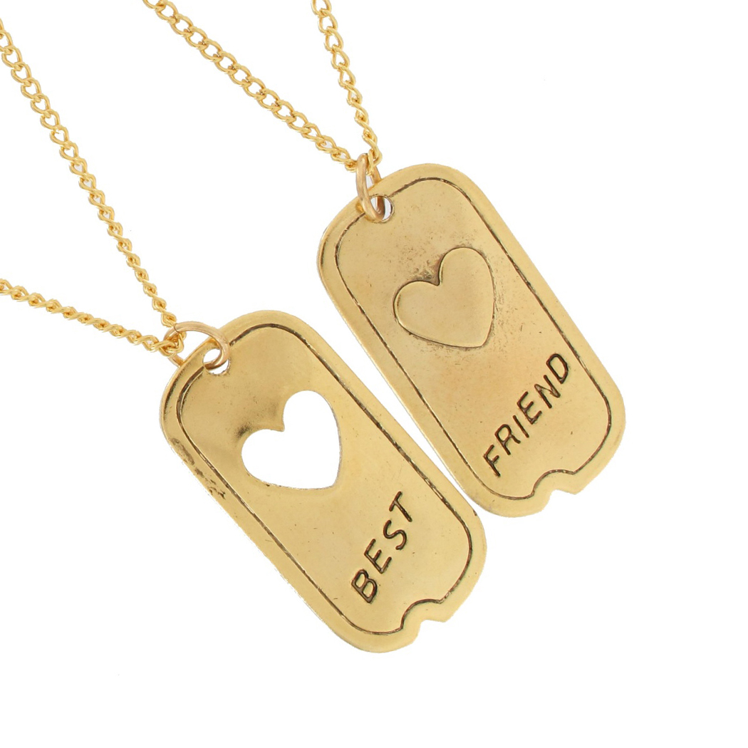Ky & Co Pendant Bff Necklace Set Friendship Dog Tag Heart Best Friends Gold Tone Thumbnail 2