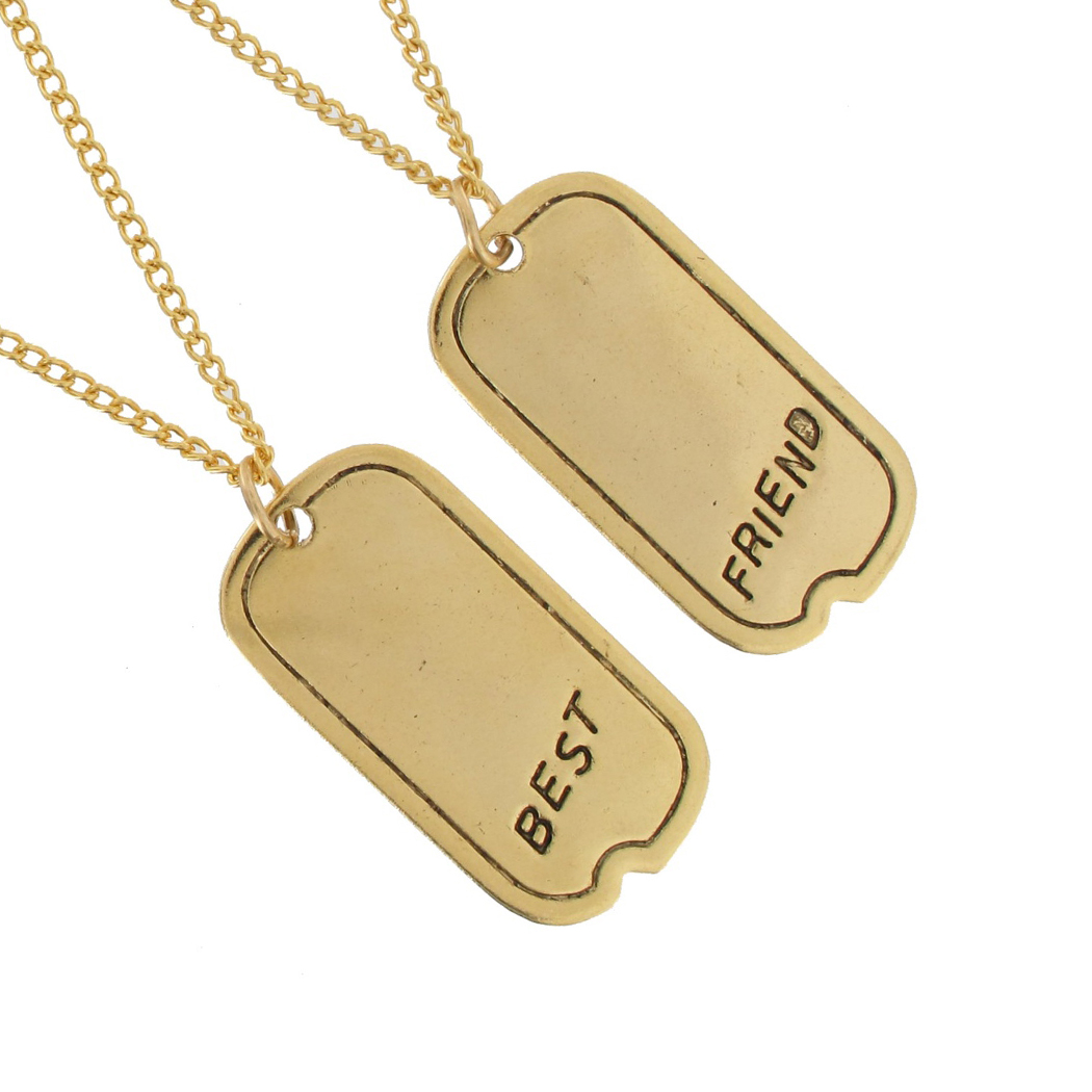 Ky & Co Pendant Bff Necklace Set Friendship Dog Tag Gold Tone Best Friends Thumbnail 2