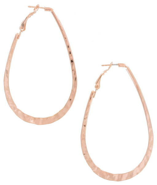Ky & Co Rose Gold Tone Hammered Oval Pierced Hoop Earrings USA Made 2 3/4""