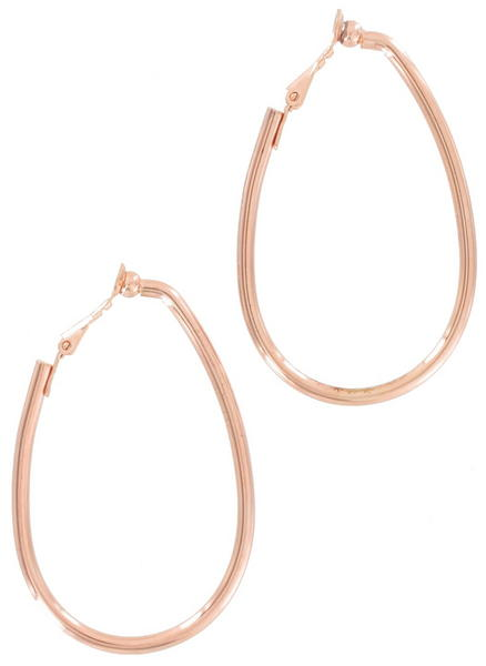 Ky & Co Large Rose Gold Tone Oval Clip On Hoop Earrings USA Made 2 1/4""