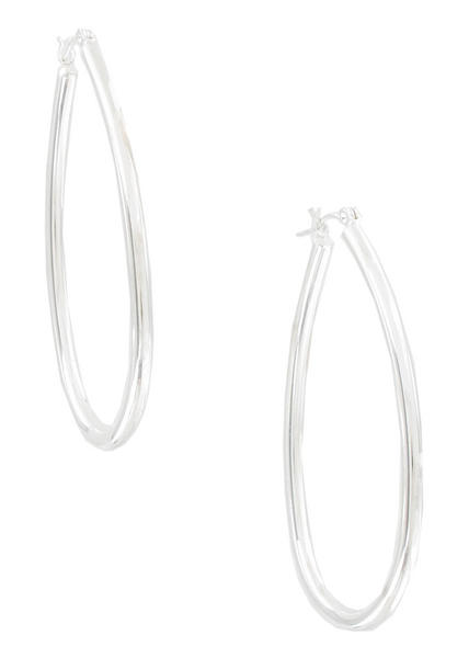 Ky & Co Silver Tone Large Oval Pierced Hoop Earrings USA Made 2 1/4""