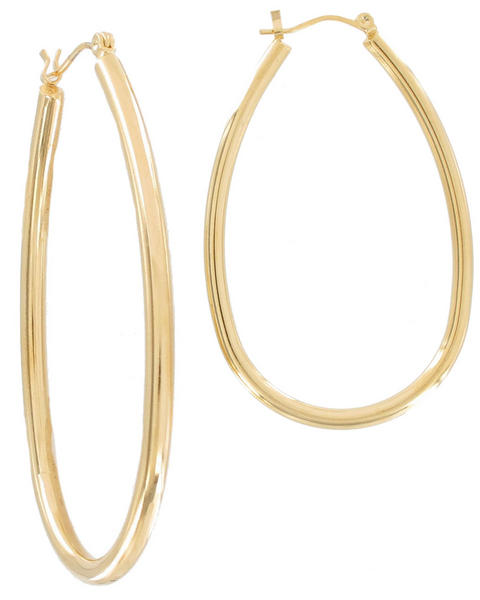 Ky & Co Gold Tone Oval Pierced Hoop Earrings USA Made 2 1/4""