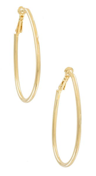 Ky & Co Gold Tone Oval Clip On Hoop Earrings USA Made 2 1/4""
