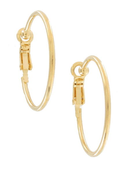 Ky & Co Thin Yellow Gold Tone Clip On Hoop Earrings USA Made 1""