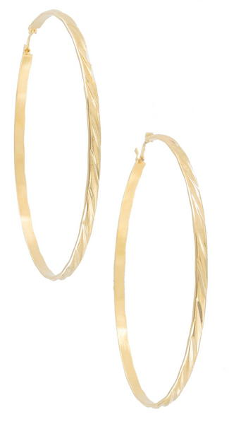 Ky & Co Gold Tone Twisted Pierced Hoop Earrings USA Made 2 1/2""