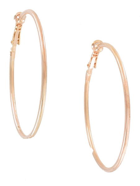 Ky & Co Rose Gold Tone Clip On Hoop Earrings USA Made 2""