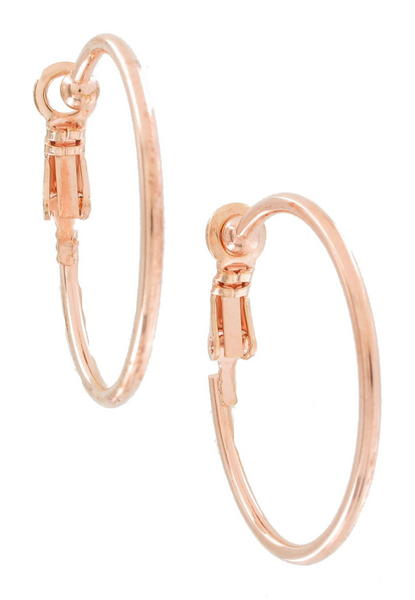 "Ky & Co Rose Gold Tone Thin Clip On Hoop Earrings 1"" USA Made"