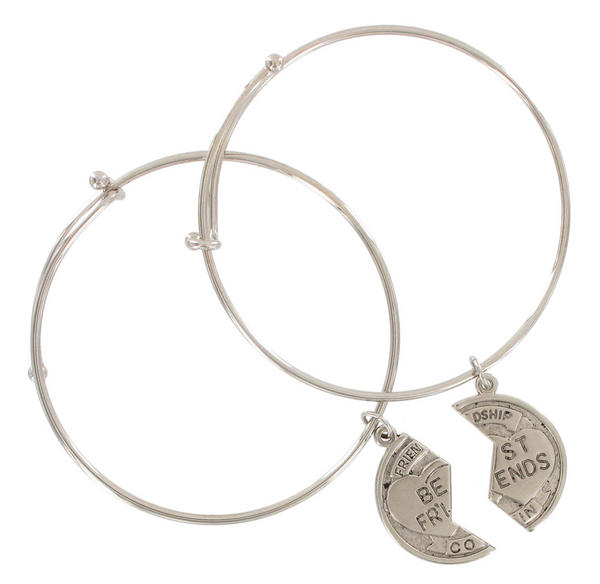 Ky & Co Silver Tone BFF Best Friends Forever Broken Coin Friendship Bangle Bracelet Set USA Made