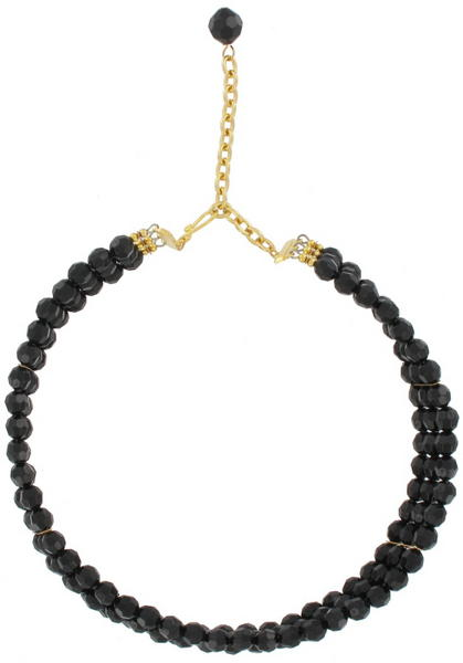 Faceted Black Beaded Three Strand Choker Necklace Large