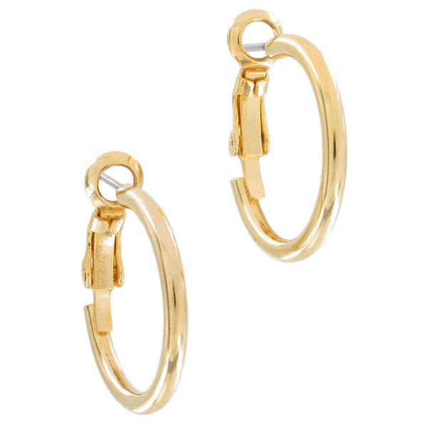 Ky & Co Gold Tone Metallic Pierced Small Hoop Earrings USA Made 5/8""