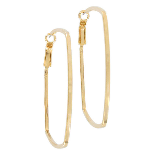Ky & Co Gold Tone Abstract Geometric Square Pierced Hoop Earrings USA Made 2""