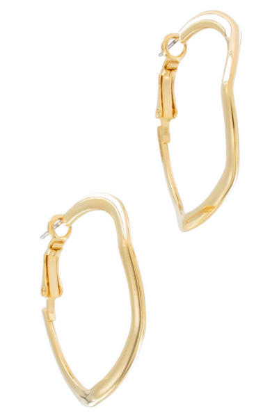 Ky & Co Gold Tone Wavy Wire Pierced Hoop Earrings USA Made 1 1/2""