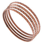 Ky & Co Bangle Bracelet Copper Ox Tone Faceted Metal Thin Made USA Set 4 Small Thumbnail 1