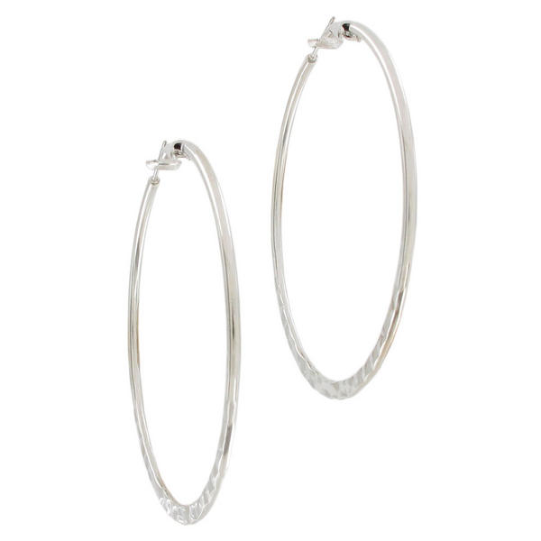 Ky & Co Large Silver Tone Hammered Pierced Hoop Earrings USA Made 2 3/8""
