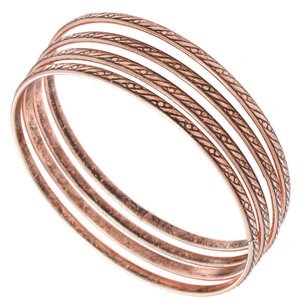 Ky & Co Bangle Bracelet Antiqued Rose Gold Tone Thin USA Set 4 Cambridge Small