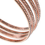 Ky & Co Bangle Bracelet Antiqued Rose Gold Tone Thin USA Set 4 Cambridge Small Thumbnail 2