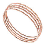 Ky & Co Bangle Bracelet Set 3 Antiqued Rose Gold Tone Thin Hammered Regular Sz Thumbnail 1