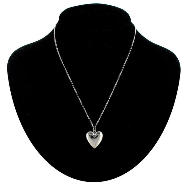 Ky & Co Necklace Silver Tone Tiny Heart Locket Plain Simple Small Made In USA