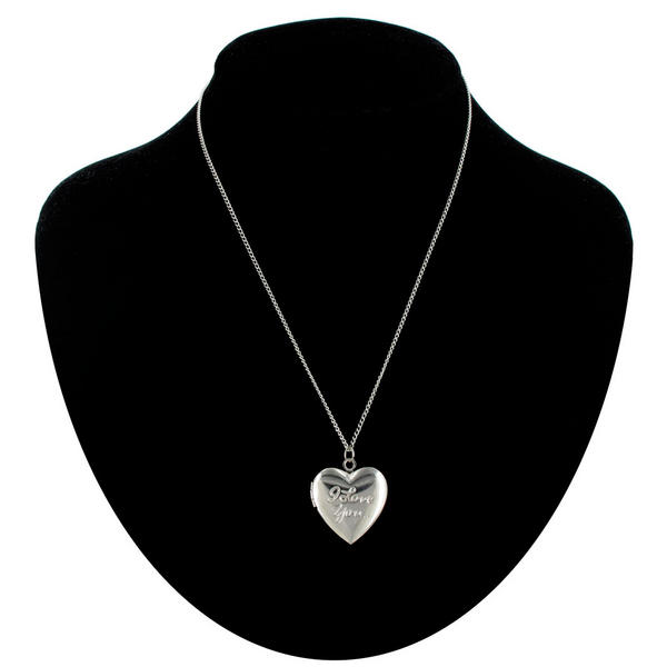 Ky & Co Necklace Silver Tone Heart Locket Pendant Small I Love You Made In USA