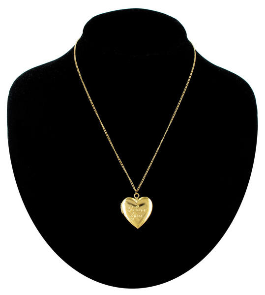 Ky & Co Necklace Gold Tone Heart Locket Pendant Small I Love You Made In USA