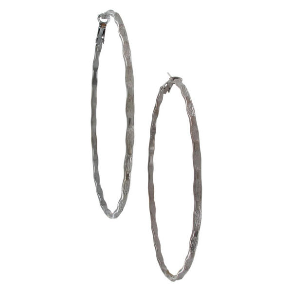Ky & Co USA Made Gun Metal Grey Tone Bamboo Texture Big Hoop Earrings 3 1/8""