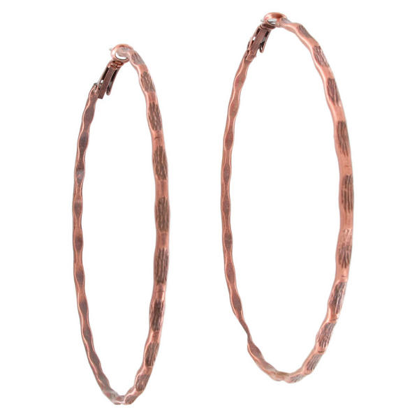 Ky & Co USA Made Copper Tone Bamboo Texture Large Hoop Earrings 3 1/8""