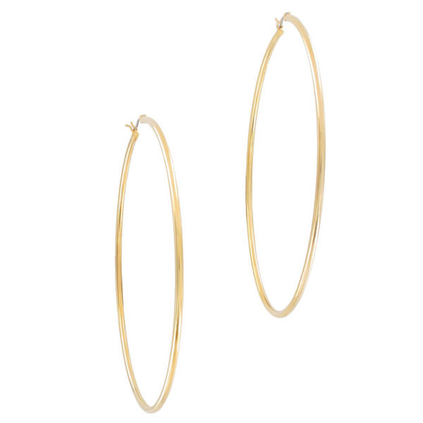 "Ky & Co Yellow Gold Tone Pierced Hoop Earrings Large Oversized 3 1/4"" USA Made"