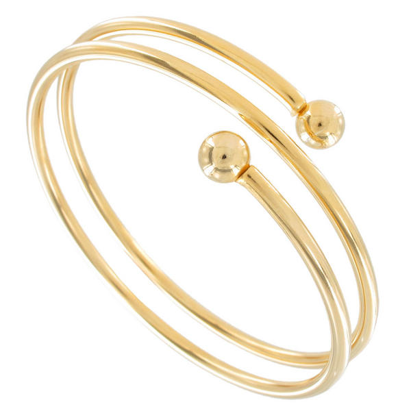 Ky & Co Yellow Gold Tone Coil Spiral Bangle Bracelet USA Made Women's Size Large