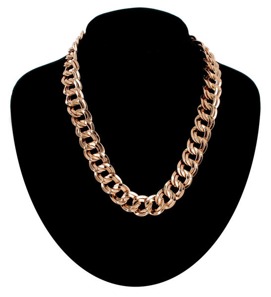 "Ky & Co Rose Gold Tone 5/8"" Link Chunky Double Link Chain Necklace Made USA"