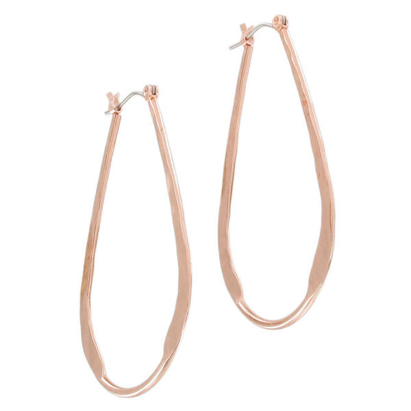 Ky & Co Rose Gold Tone Tear Drop Pierced Hoop Earrings USA Made 2""