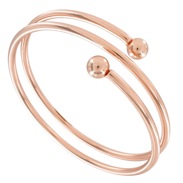Ky & Co Bangle Bracelet Spiral Rose Gold Tone Coil Women's Size Large USA Made