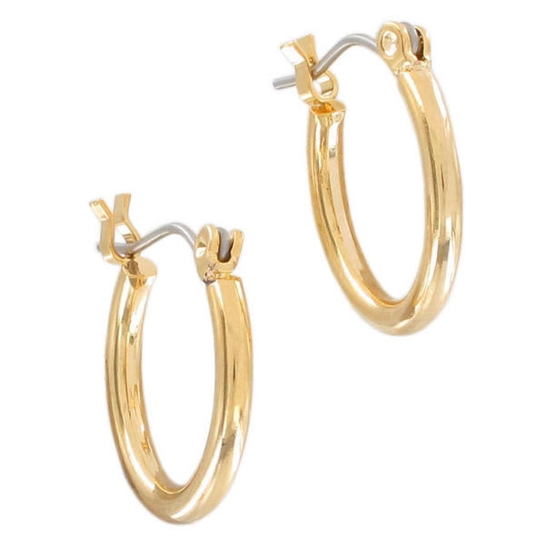 "Ky & Co Mens Pierced Earrings Hoop Yellow Gold Tone 5/8"" Stainless Steel Posts USA"