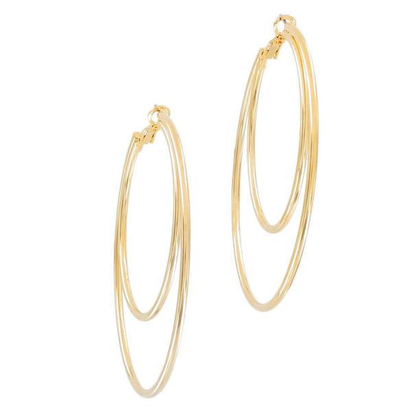 "Ky & Co Large Yellow Gold Tone Pierced Hoop Earrings Double Loop 2 5/8"" USA Made"